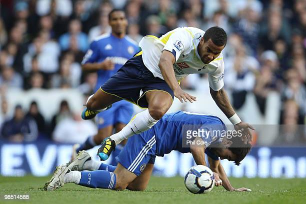 Deco of Chelsea challenges Tom Huddlestone of Tottenham Hotspur during the Barclays Premier League match between Tottenham Hotspur and Chelsea at...