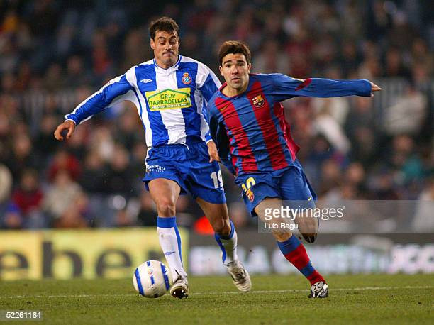 Deco of FC Barcelona and Dani Garcia of RCD Espanyol during the La Liga match between FC Barcelona and RCD Espanyol on March 2 2005 at Camp Nou...