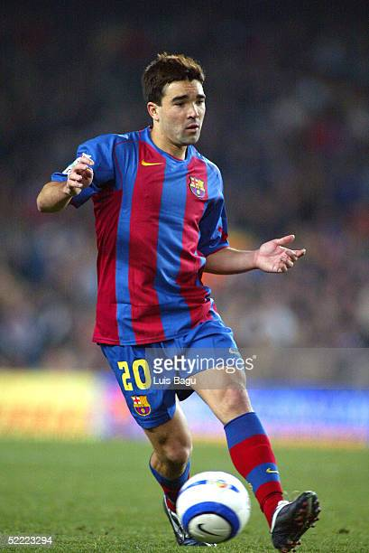 Deco of FC Barcelona in action during the La Liga soccer match between FC Barcelona and Real Mallorca on February 19 2005 at the Camp Nou stadium in...