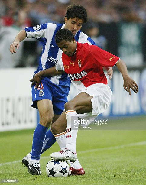 Deco of FC Porto battles with Patrice Evra of Monaco during the UEFA Champions League Final match between AS Monaco and FC Porto at the AufSchake...