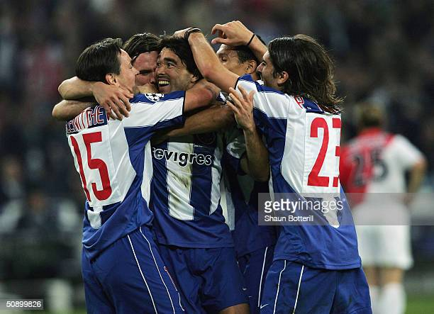 Deco of FC Porto is congratulated after he scores their second goal during the UEFA Champions League Final match between AS Monaco and FC Porto at...
