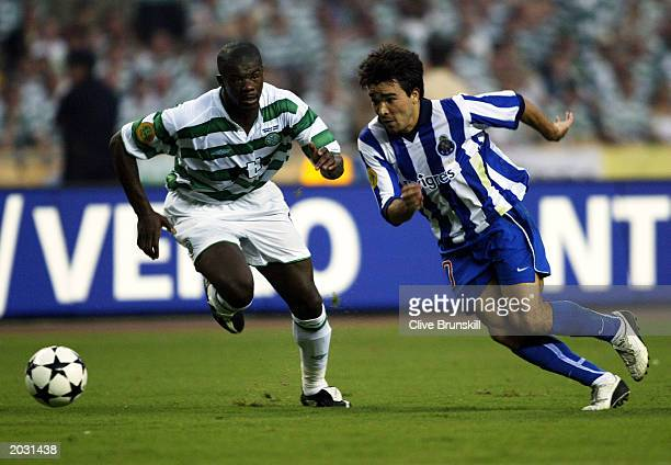 Deco of FC Porto takes the ball past Dianbobo Balde of Celtic during the UEFA Cup Final match held on May 21 2003 at the Estadio Olimpico in Seville...