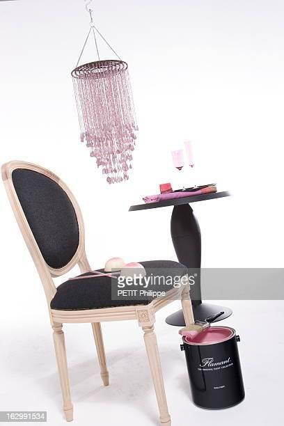 Pink And Black Let'S Marry Them Illustration décoration rose et noir alcôve de cristal pampilles et néoLouis XVI Suspension en fil perlé Home autour...