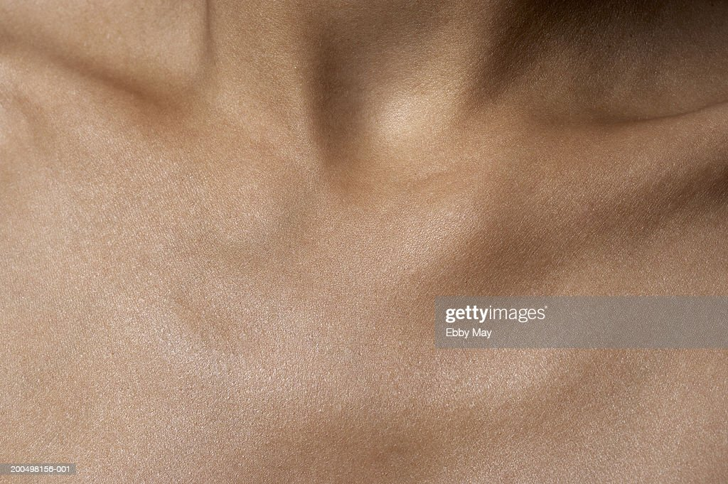 Decollete of woman, close up