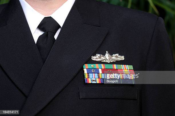 Decorated American Navy Officer Uniform Hero