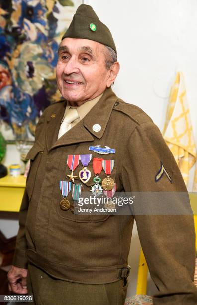 Decorated Battle of the Bulge Purple Heart recipient 93 year old Luke Gasparre backstage at 'Bandstand' on Broadway at Bernard Jacobs Theater on...