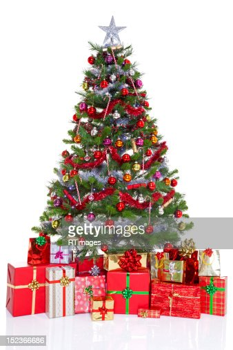 Decorated christmas tree and presents : Stock Photo