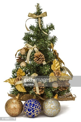Decorated Christmas tree on white background : Stock Photo