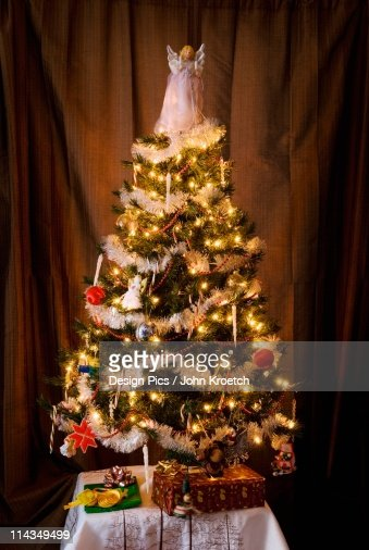 a decorated christmas tree with an angel on top stock photo getty images - Angel Tree Christmas