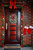 Decorated festive door for Christmas eve