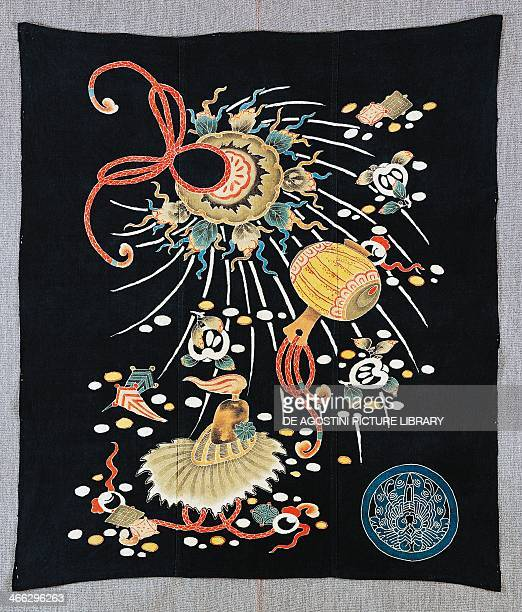 Decorated fabric used as a bag cotton dye with indigo pigment and ink 98x114 cm Japanese civilisation MeijiTaisho period 18681926