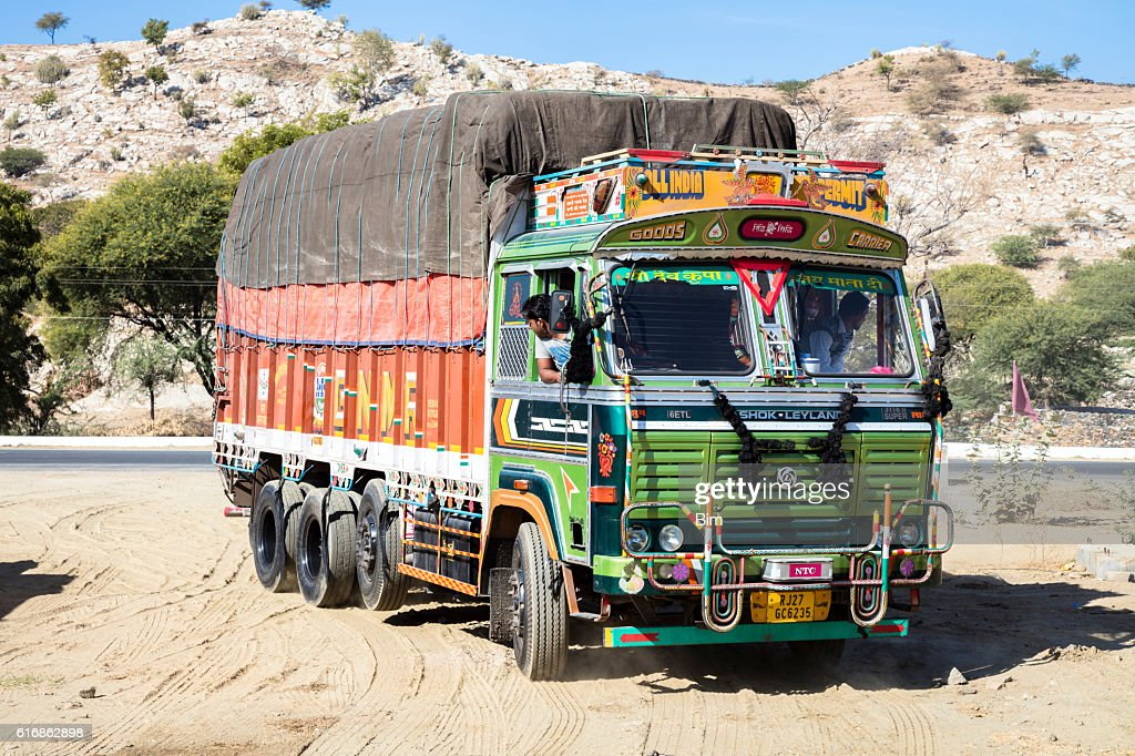 Decorated old delivery truck Ashok Leyland in Rajasthan, India : Stock Photo