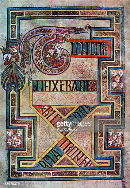 Decorated page 800 AD TUNC CRU CIFIXERANT XPI CUM EO DU OS LATRONES A 20thcentury copy of the illustrated manuscript produced by Celtic monks around...