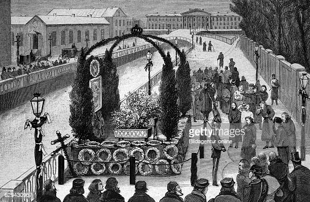 Decorated site of the murder of emperor alexander ii of russia historical illustration circa 1886