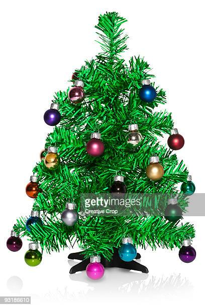 Decorated small green Christmas tree