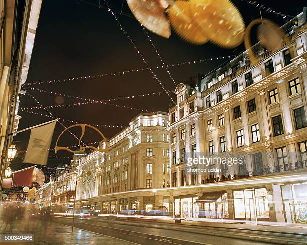 Decorated street of London at night