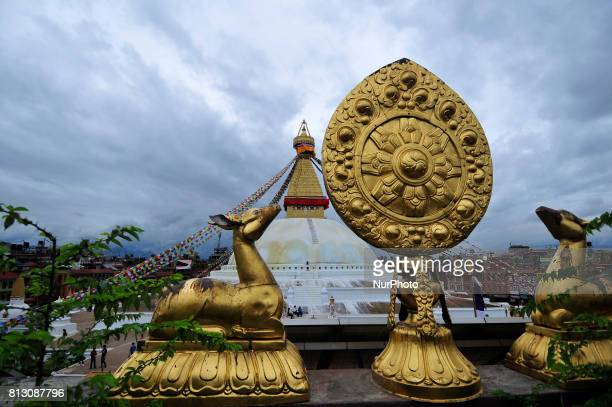 A decorated view of Boudhanath Stupa at Kathmandu Nepal on Tuesday July 11 2017 Boudhanath Stupa is listed as a UNESCO heritage site in Kathmandu...