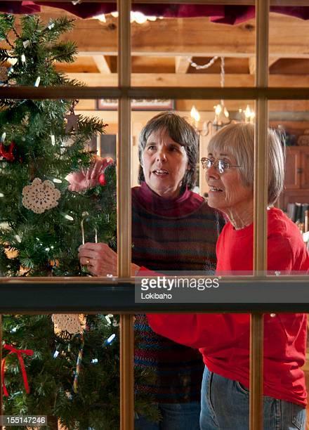 Decorare l'albero di Natale visto dall'esterno Windowpanes