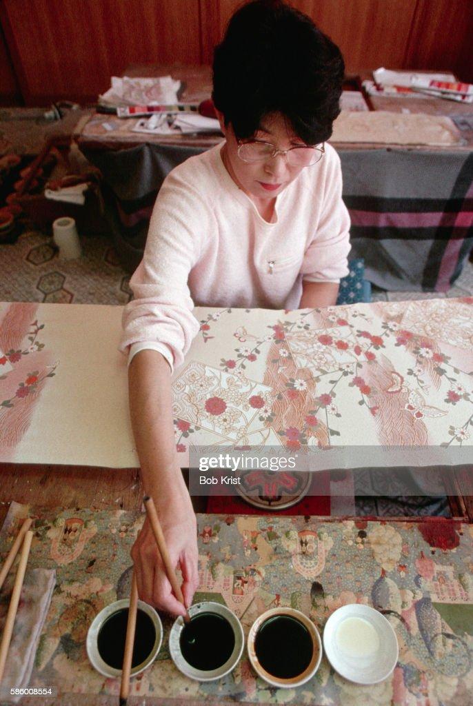 Decorating Yuzen Cloth
