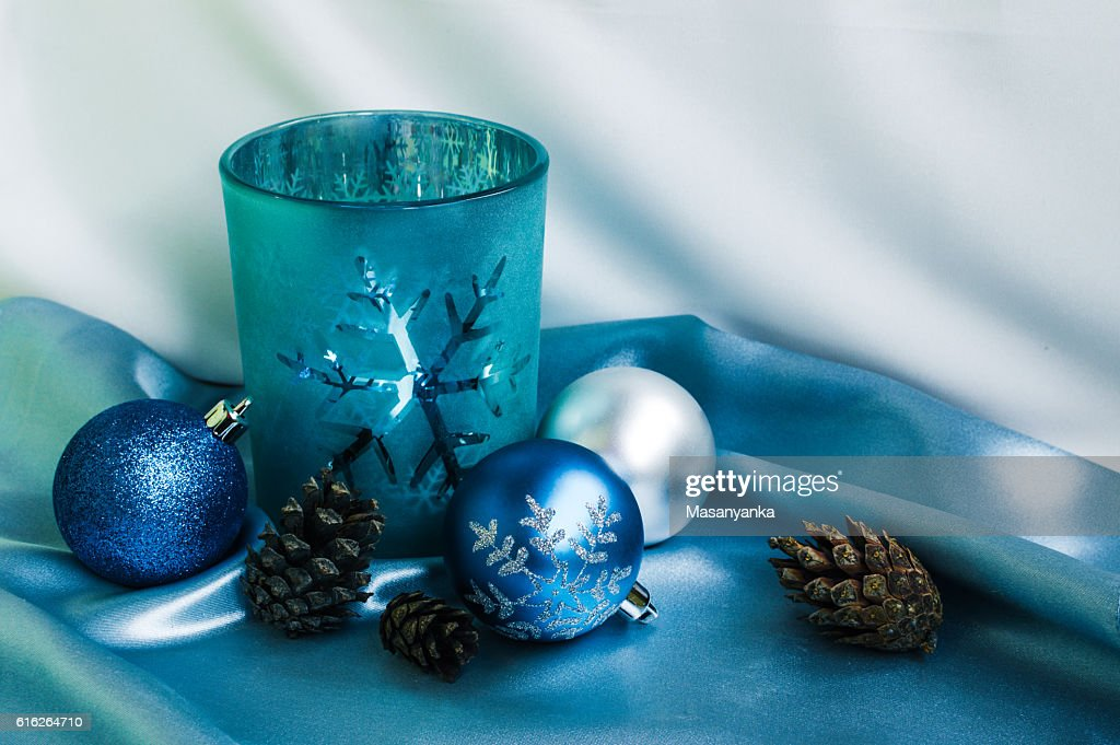 Decoration for New Year and Christmas. Candle and xmas balls : Stock Photo