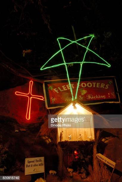 Decoration Nativity Scene of Baby Jesus for Christmas Ferstival Borivali Mumbai Maharashtra