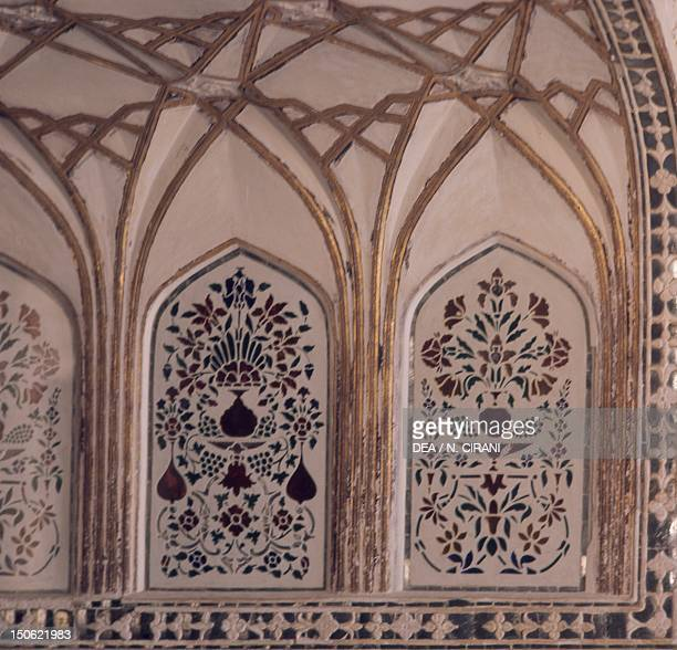 Decoration of the Hall of Private Audience in the Amer Fort in Jaipur Rajasthan India Indian civilization 17th century