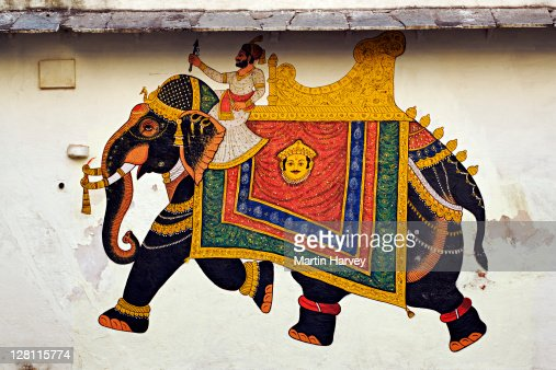 Decoration on a wall at the City Palace Complex, Udaipur, India. : Stock Photo
