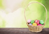 Easter Eggs in a Basket Standing on a Table