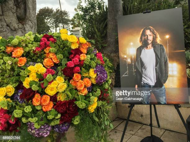 Decorations at Chris Cornell's funeral services at Hollywood Forever on May 26 2017 in Hollywood California The grungerock icon was pronounced dead...