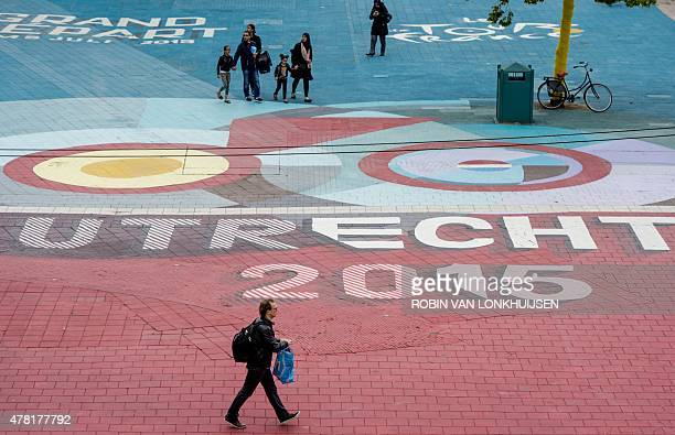 Decorations for the upcoming Tour de France cycling race are pictured in downtown Utrecht on June 23 2015 The 102nd edition of the Tour de France...