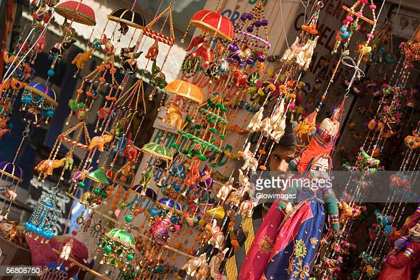 Decorations hanging at a market stall, Pushkar, Rajasthan, India