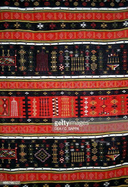 Decorative carpet handcrafted in Ghardaia M'zab Valley Algeria Detail
