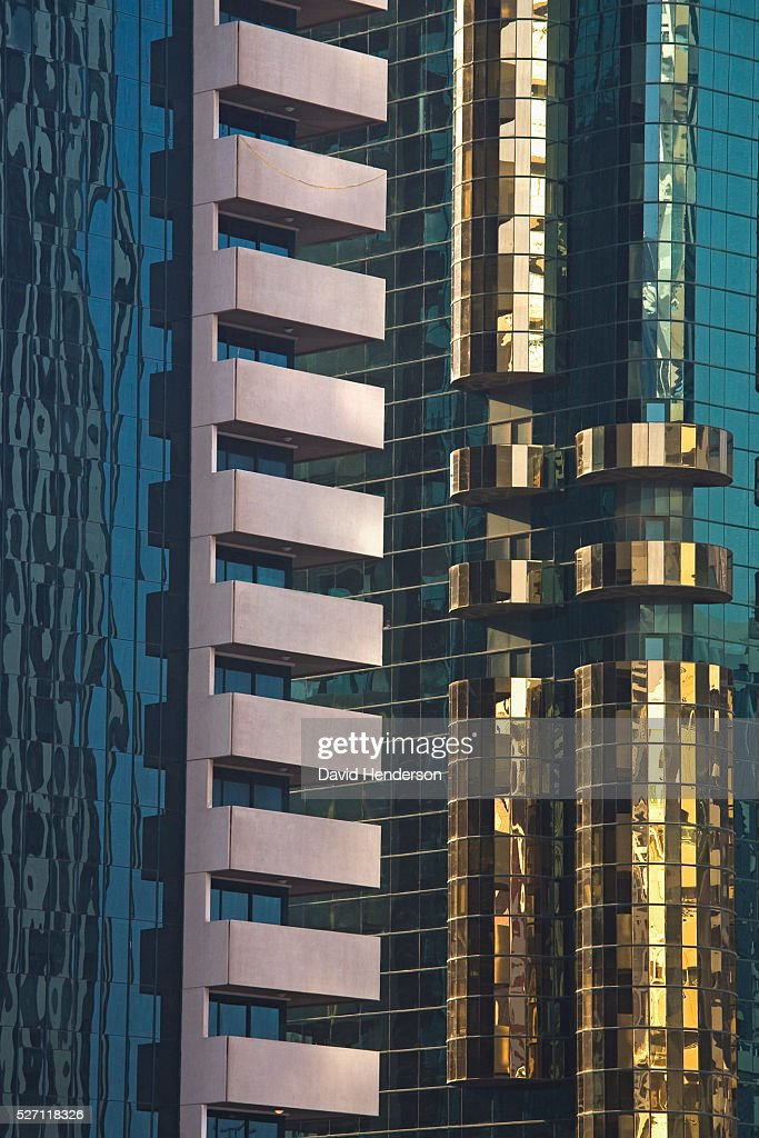 Decorative corners on skyscrapers : Stock Photo