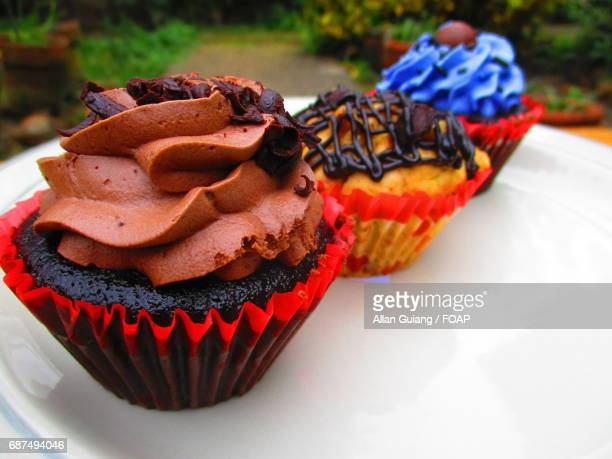 Decorative cupcake on plate