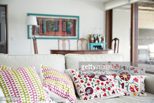 Decorative cushions on sofa