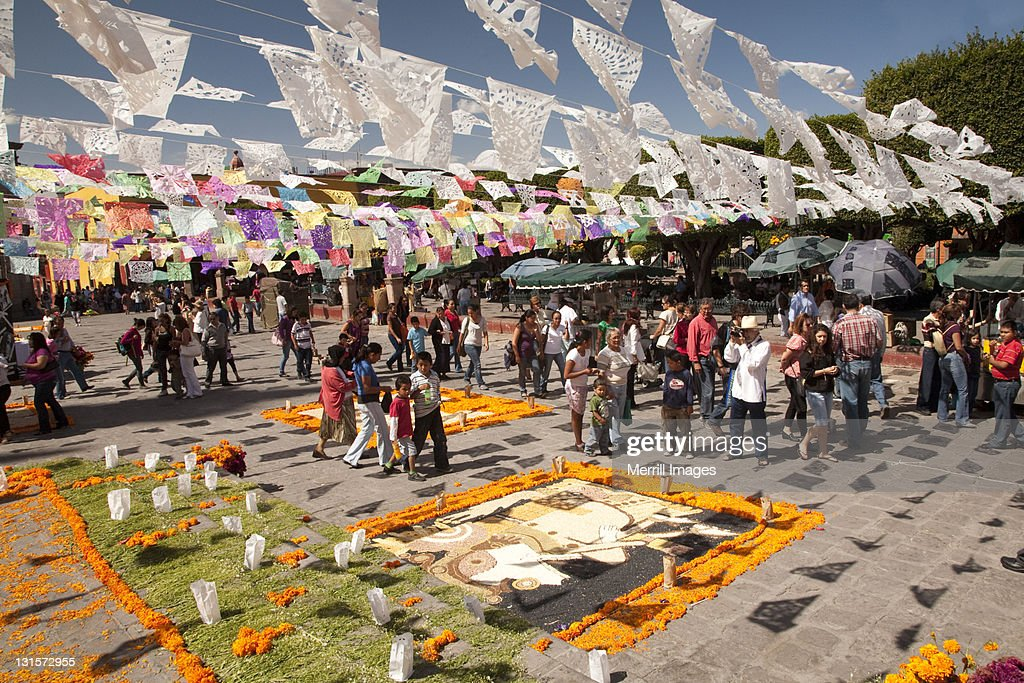 Decorative flags and marigolds forDay of the Dead. : Stock Photo
