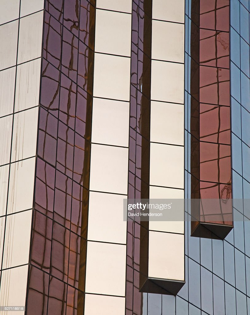 Decorative glass pillars on a skyscraper : Foto de stock