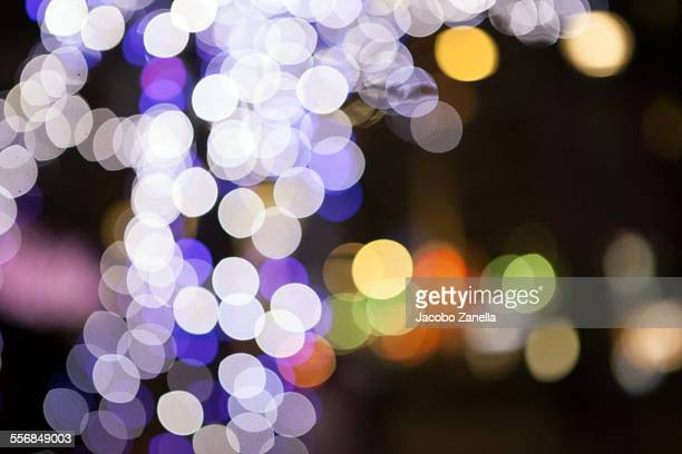 Decorative lights on a bare tree, defocused