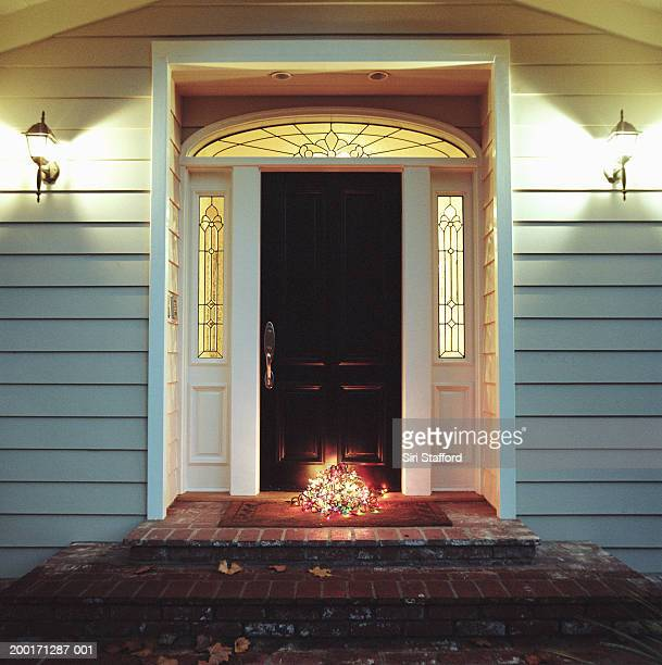 Decorative lights on front step of house