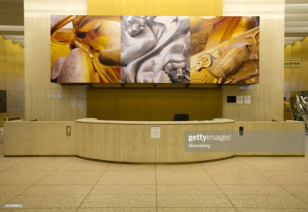 A decorative mural is seen in the lobby of 75 Rockefeller Plaza in New York, U.S., on Monday, Aug. 18, 2014. New landlord RXR Realty Corp. is upgrading the entire 630,000 square feet. The $150 million project includes raising office ceilings from 7.5 feet (2.3 meters) to 9 feet, and relocating mechanical equipment from the top floor to create new high-priced space, said Scott Rechler, RXRís chief executive officer. Photographer: Jin Lee/Bloomberg via Getty Images
