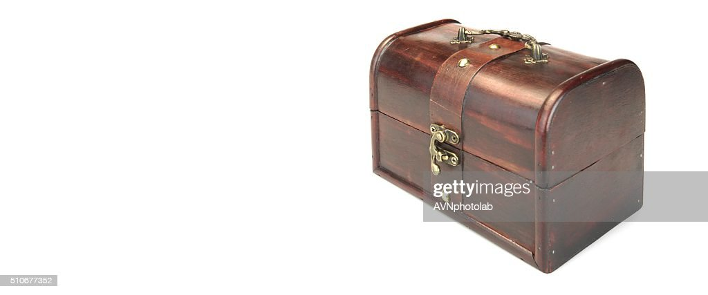 Decorative Storage Redwood Box Or Casket Side View White Isolate : Stock  Photo