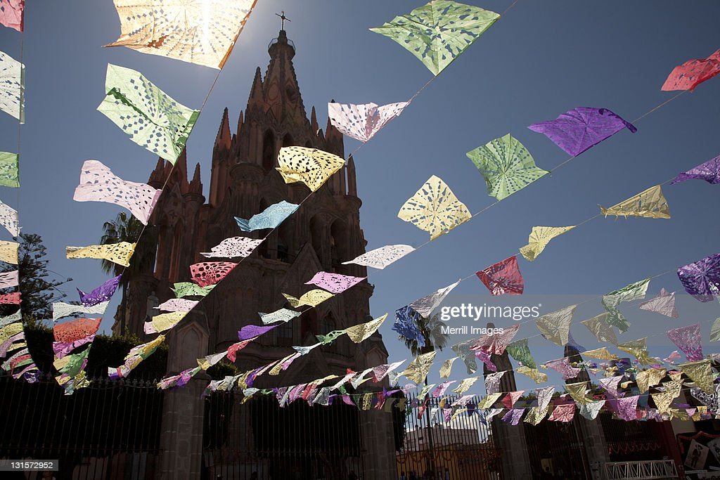 Decorative streamers for Day of the Dead. : Stock Photo