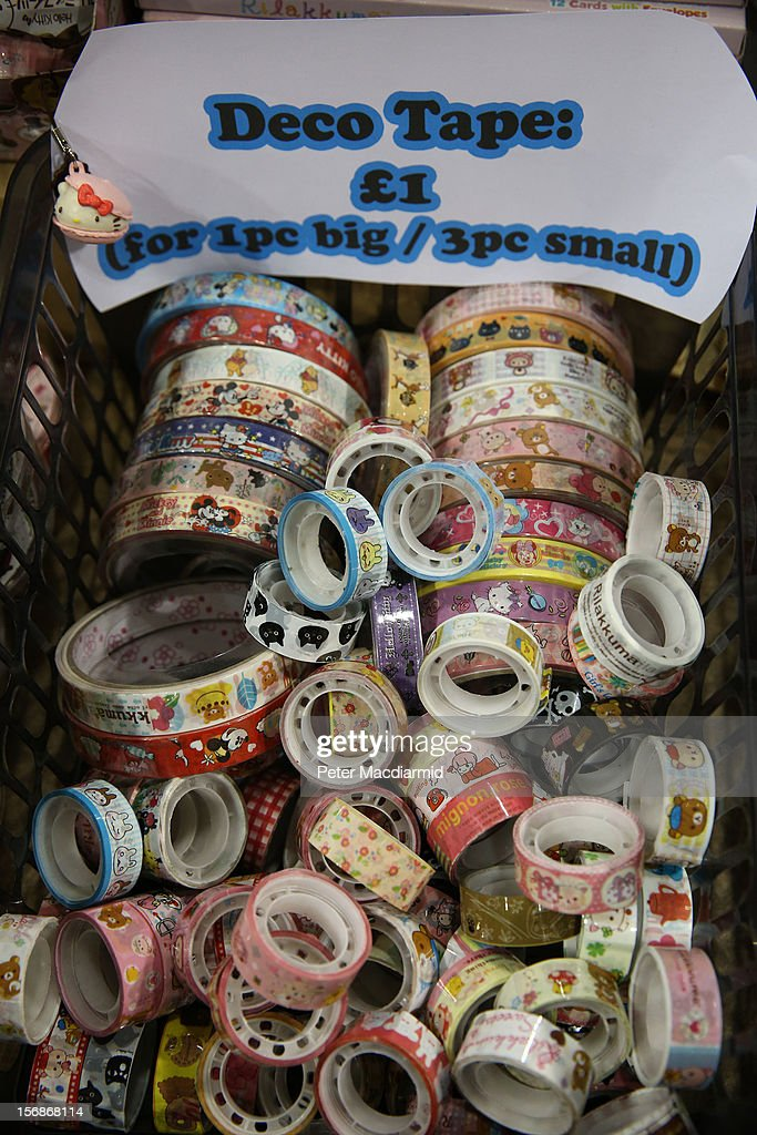 Decorative tape is displayed for sale at The Hyper Japan event at Earls Court on November 23, 2012 in London, England. The show is the UK's biggest Japanese Culture event, with stalls selling clothing and artwork. live music, Japanese food and computer gaming areas are also on show. Many attendees dress up as anime characters or in the lolita fashion widespread in Japan.