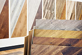 Decorative wooden panels for walls and floor in the store