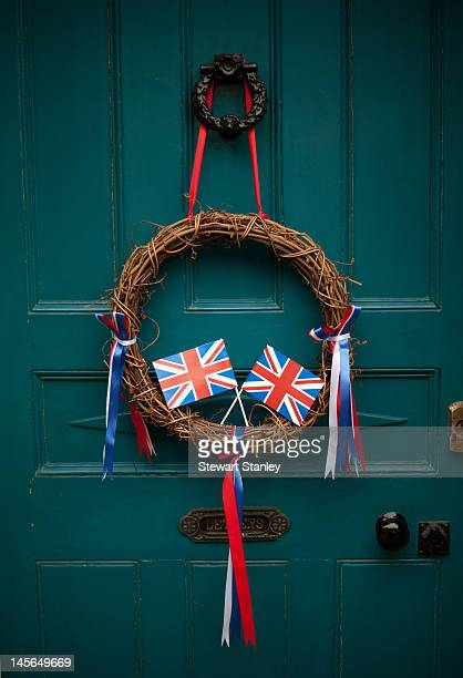 A decorative wreath hung on a door at the Ightham medieval Coxcombe Fair to celebrate Queen Elizabeth II's Diamond Jubilee on June 03 2012 in Ightham...