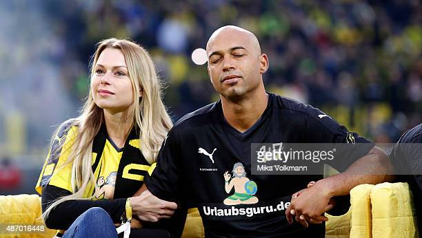Dede and his wife enjoy the moment after the farewell match of Dede at Signal Iduna Park on September 5 2015 in Dortmund Germany