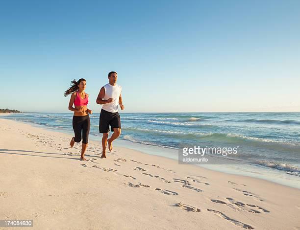 Dedicated couple running