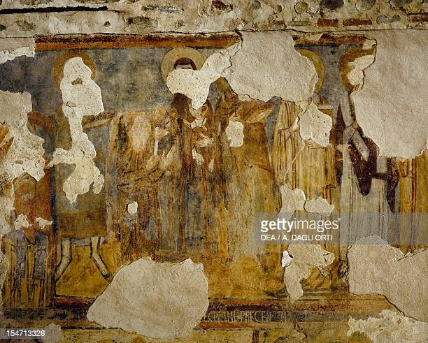 Dedicating the monastery to the Virgin fresco from the tower of the monastery of Torba Castelseprio Italy 11th century