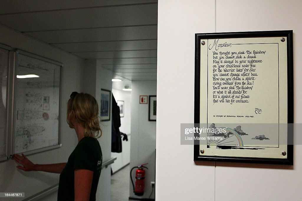 A dedication to Fernando Pereira hangs on the wall of the Greenpeace Rainbow Warrior whilst docked at the Overseas Passenger Terminal in Circular Quay on March 24, 2013 in Sydney, Australia. The vessel is in Australia to protest new coal mines set to open near the Great Barrier Reef, and is opening for public viewing at ports across the country. The original Rainbow Warrior was bombed and sunk in Auckland Harbour in 1985 by two French intelligent agents, killing a Dutch photographer on board.