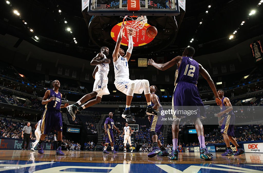 Dedric Lawson of the Memphis Tigers dunks the ball against the LeMoyneOwen Magicians on November 6 2015 at FedExForum in Memphis Tennessee Memphis...